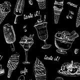 冰淇凌无缝的黑板样式 库存照片