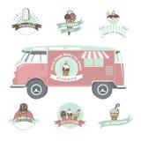 冰淇凌标签、徽章和设计元素 库存图片