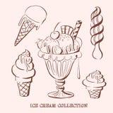 冰淇凌汇集的手拉的传染媒介例证 免版税库存照片