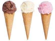 冰淇凌瓢圣代冰淇淋锥体香草巧克力icec的汇集 免版税库存图片