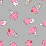 冰淇凌的五颜六色的无缝的样式在流行艺术样式的 背景接近的奶油色冰图象 库存照片