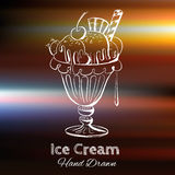 冰淇凌的手拉的传染媒介例证 免版税库存图片