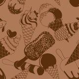 冰淇凌的无缝的样式 免版税库存图片