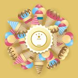 冰淇凌被设置的和文本的圆的标签 库存图片