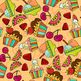冰淇凌,西瓜的无缝的样式 图库摄影