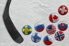 冰球和轻击棒冰的 图库摄影