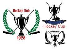 冰球杯子和俱乐部象征 库存照片
