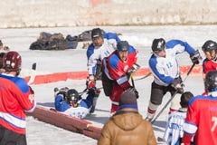 冰球球员挑战 库存照片