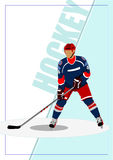 冰球球员海报 免版税库存图片