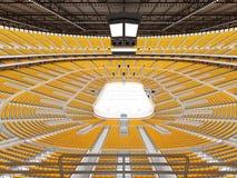 冰球的美好的竞技场与黄色位子和VIP箱子 免版税库存图片