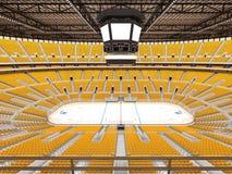 冰球的美好的竞技场与黄色位子和VIP箱子 库存照片