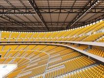 冰球的美好的竞技场与黄色位子和VIP箱子 免版税图库摄影