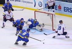 冰球2017年世界冠军Div 1A在基辅,乌克兰 免版税库存照片