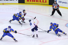 冰球2017年世界冠军Div 1A在基辅,乌克兰 库存照片