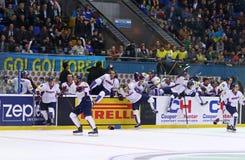 冰球2017年世界冠军Div 1A在Kyiv,乌克兰 免版税库存图片