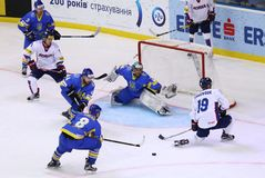 冰球2017年世界冠军Div 1A在Kyiv,乌克兰 图库摄影