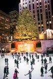 滑冰由树的假日 免版税库存照片