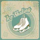滑冰的减速火箭的卡片 免版税库存照片