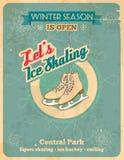 滑冰的减速火箭的海报 免版税图库摄影