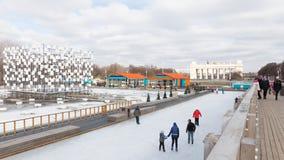 滑冰的溜冰场在中央公园 库存照片