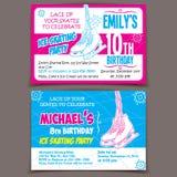 滑冰的生日聚会邀请卡片 免版税库存图片