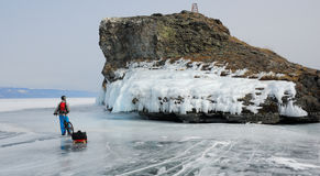 冰的自行车游人 免版税图库摄影