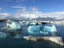 冰盐水湖Jakulsarlon,南冰岛 免版税库存照片