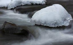 冰盖帽在结霜的小河的 库存照片