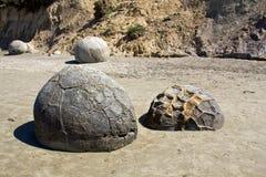 冰砾海岸moeraki新的和平的西兰 库存照片