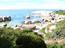 冰砾海滩,西开普省,南非 免版税库存图片