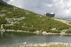 冰碛抑制了湖Tatra山的名为Skalnate pleso,天文学和meteoroligical观测所,斯洛伐克 免版税库存照片