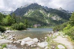 冰碛被抑制的湖Popradske pleso,惊人的自然,高Tatra山,斯洛伐克 免版税库存照片