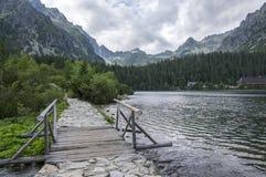 冰碛被抑制的湖Popradske pleso,惊人的自然,高Tatra山,斯洛伐克 库存图片