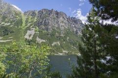 冰碛被抑制的湖Popradske pleso,惊人的自然,高Tatra山,斯洛伐克 免版税库存图片