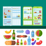 冰箱有机食品厨具家庭器物冰箱装置冷冻机传染媒介例证 免版税图库摄影