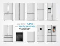 冰箱的易变的类型 在白色backgrou的现实集合 向量例证