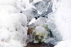冰结冰的小河水结冰形成雪 免版税库存图片