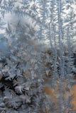 冰花在窗口冬天 免版税库存照片