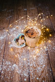 冰蜂蜜南瓜与打好的奶油的香料拿铁 定调子 有选择性 库存图片