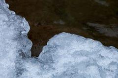 冰边缘是被盖的雪 免版税库存照片