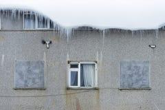冰钟乳石和窗口 图库摄影