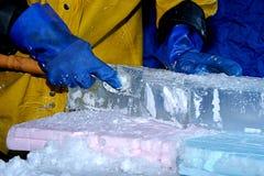 冰雕刻家 库存照片