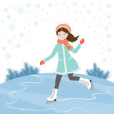 冰鞋的女孩 库存照片