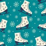 冰鞋 在蓝色背景的无缝的圣诞节样式 免版税库存图片