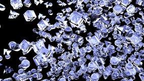 冰飞行在慢动作的抽象几何图 3d翻译 免版税库存照片