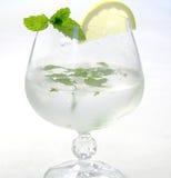 冰饮料用柠檬和薄菏 库存照片