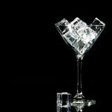冰鸡尾酒杯在黑色的 免版税图库摄影
