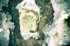 冰水和岩石在河 免版税图库摄影