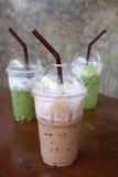 冰冻咖啡和绿茶 免版税库存照片