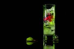 冰绿色玻璃用莓果鹅莓红色黑醋栗和水 刷新的鸡尾酒 玻璃水瓶柑橘饮料冰橙色夏天水 免版税图库摄影